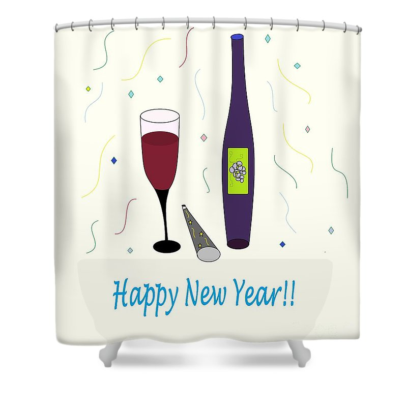 Glass Of Wine Shower Curtain featuring the photograph Happy New Year by Mesa Teresita