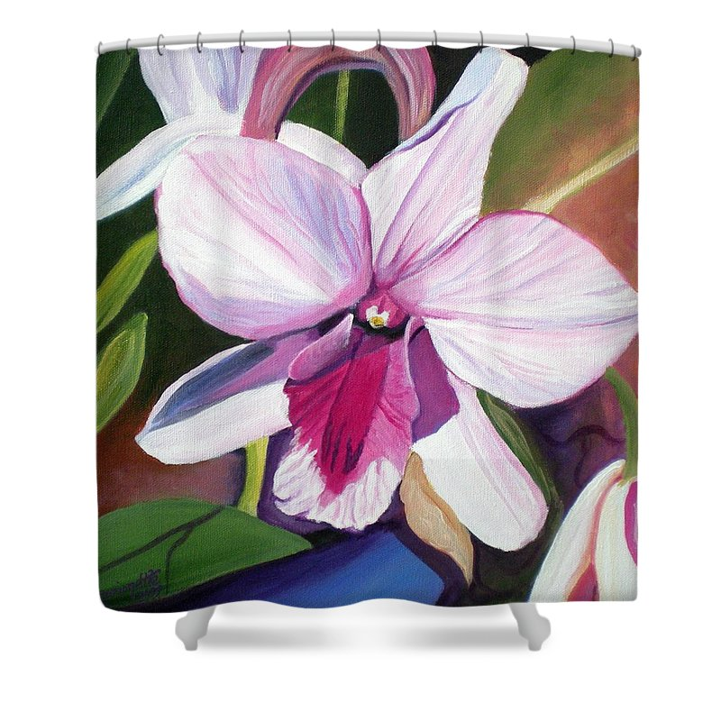 Kauai Shower Curtain featuring the painting Happy Orchid by Marionette Taboniar