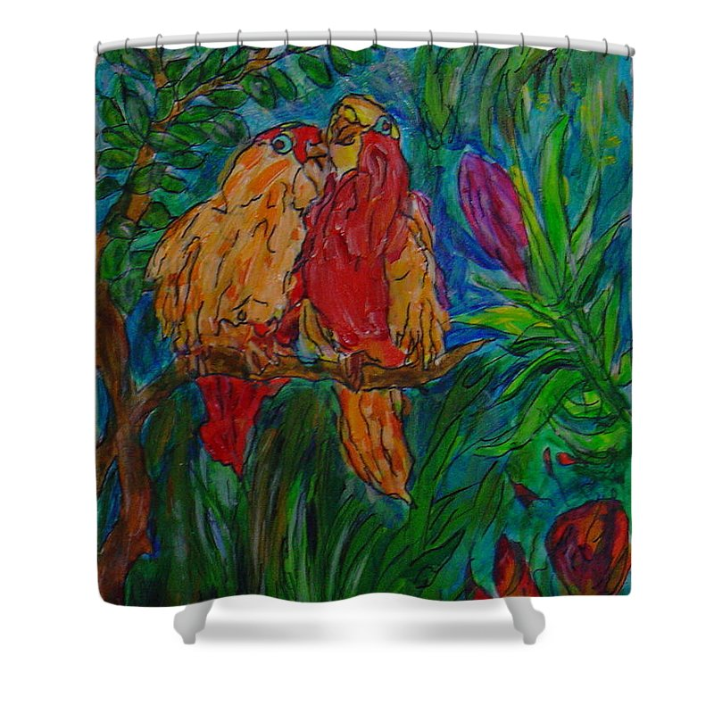 Birds Tropical Couple Pair Illustration Original Leilaatkinson Shower Curtain featuring the painting Happy Pair by Leila Atkinson