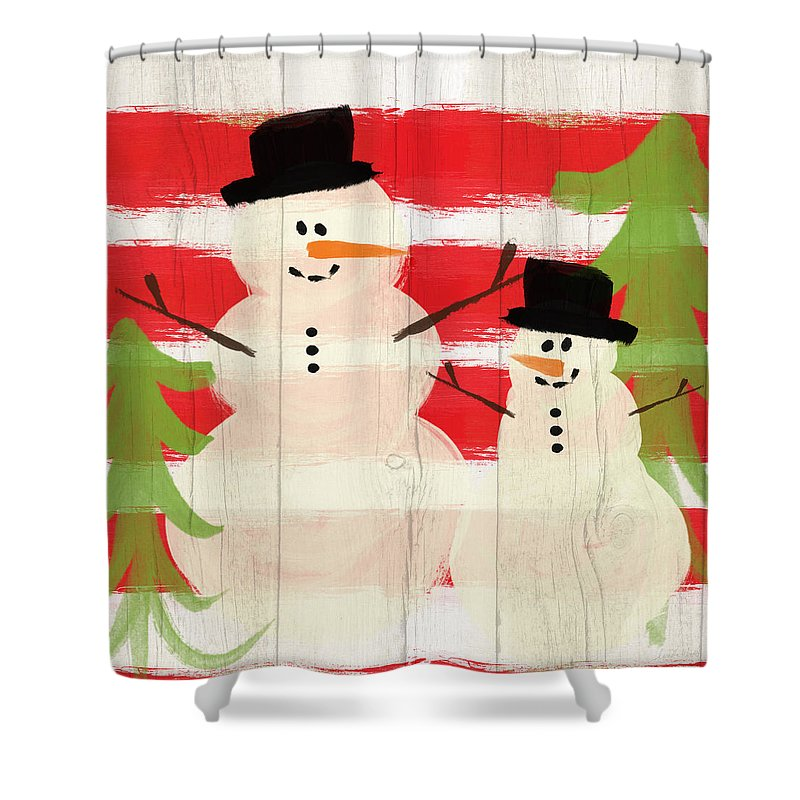 Snowman Shower Curtain featuring the painting Happy Snowmen- Art By Linda Woods by Linda Woods