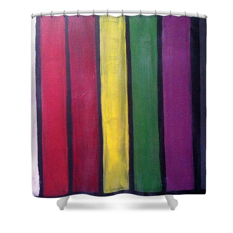 Colors Shower Curtain featuring the painting Happy by Solenn Carriou