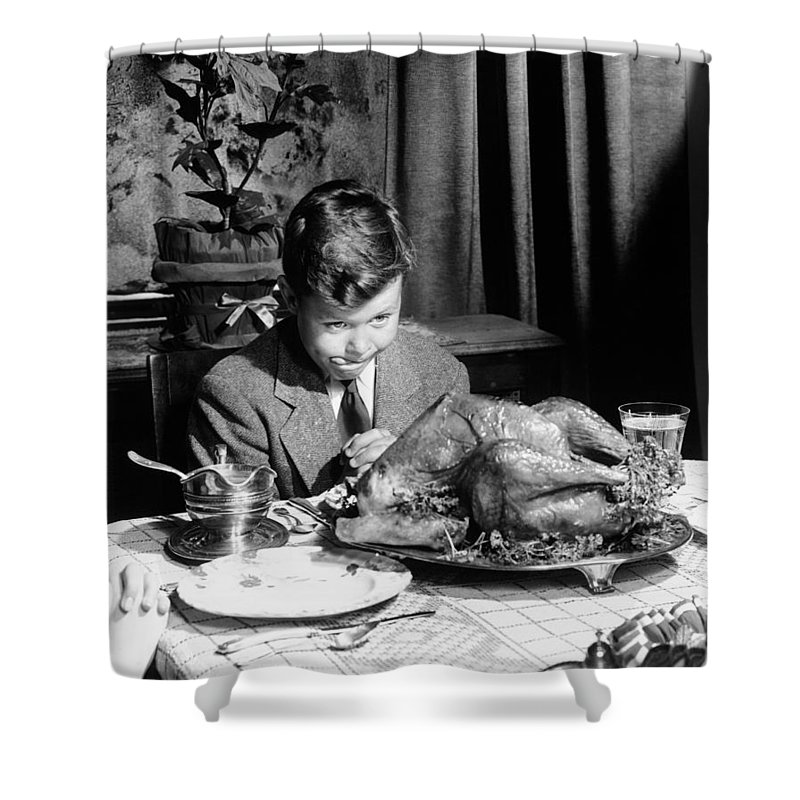 Thanksgiving Shower Curtain featuring the photograph Happy Thanksgiving by American School
