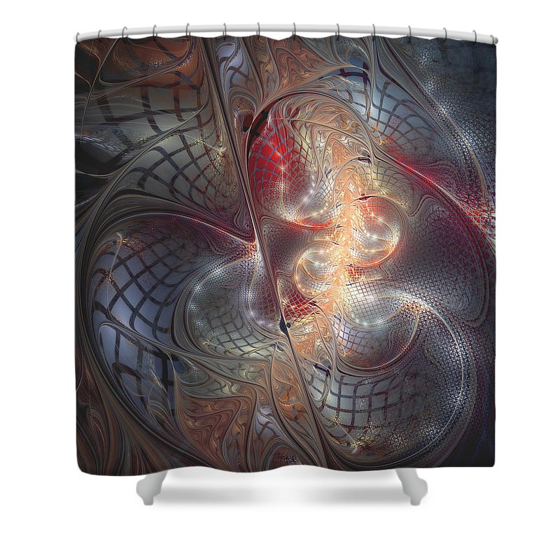 Abstract Shower Curtain featuring the digital art Happy Trails by Casey Kotas