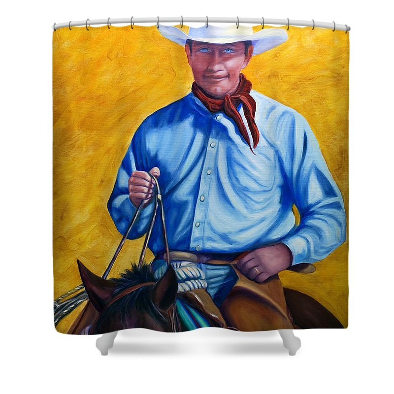 Cowboy Shower Curtain featuring the painting Happy Trails by Shannon Grissom