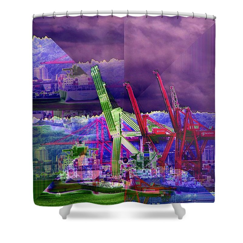 Seattle Shower Curtain featuring the digital art Harbor Island Workhorses by Tim Allen