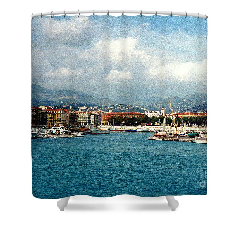 Landscape Shower Curtain featuring the photograph Harbor Scene In Nice France by Nancy Mueller