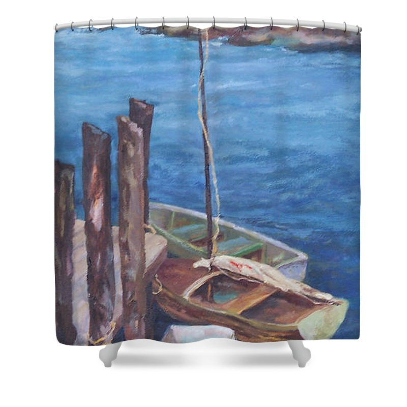 Coastal Landscape Shower Curtain featuring the painting Harbor View So. Freeport Wharf by Alicia Drakiotes