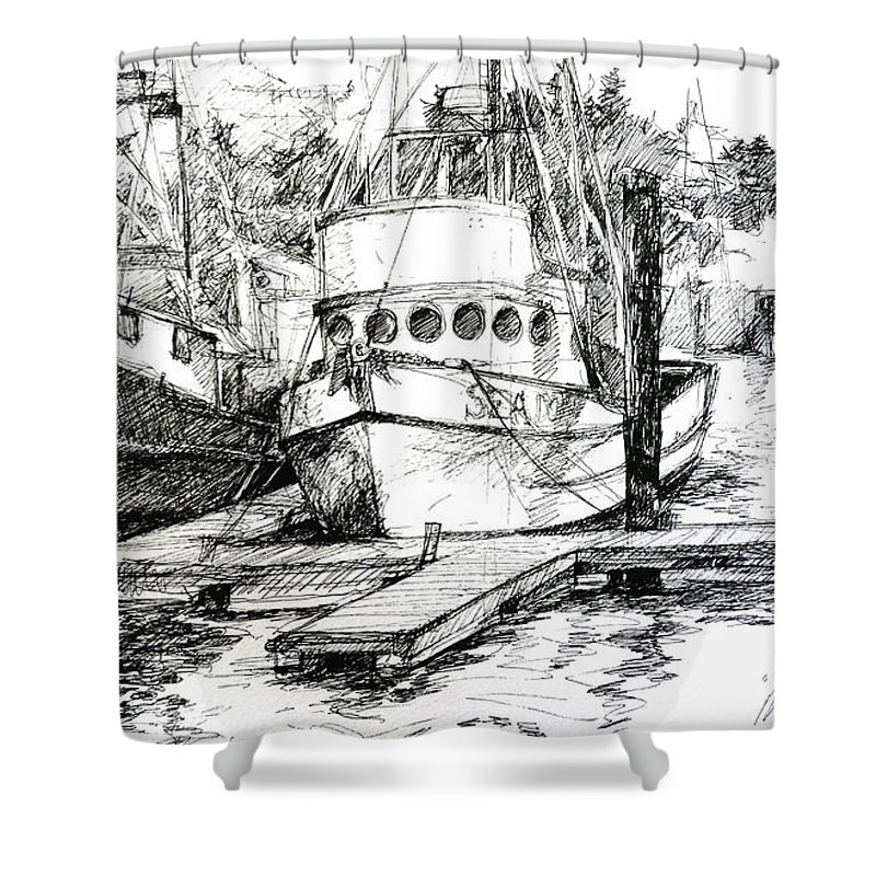 Seascape Shower Curtain featuring the painting Harbour Boats by Sarah Madsen