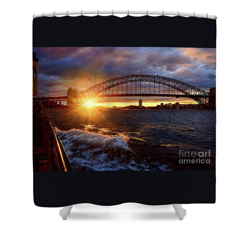 Harbour Bridge Sunset Shower Curtain featuring the photograph Harbour Bridge Sunset By Kaye Menner by Kaye Menner