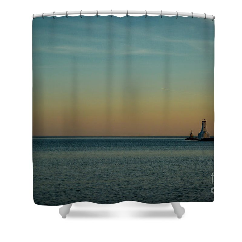 Blue Shower Curtain featuring the photograph Harbour Lights by Roger Monahan