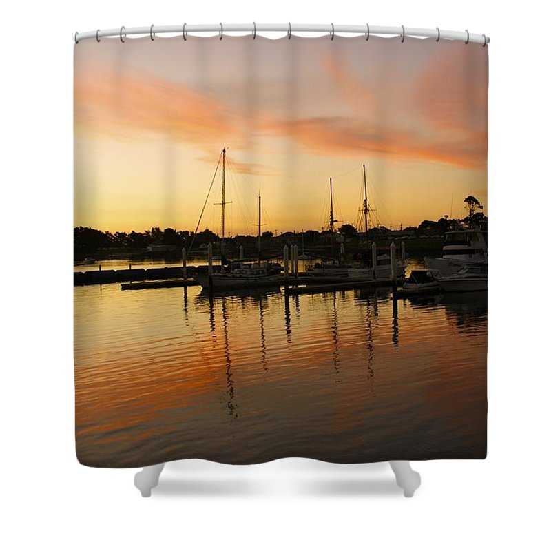 Sunset Shower Curtain featuring the photograph Harbour Sun Set by Kathryn Potempski