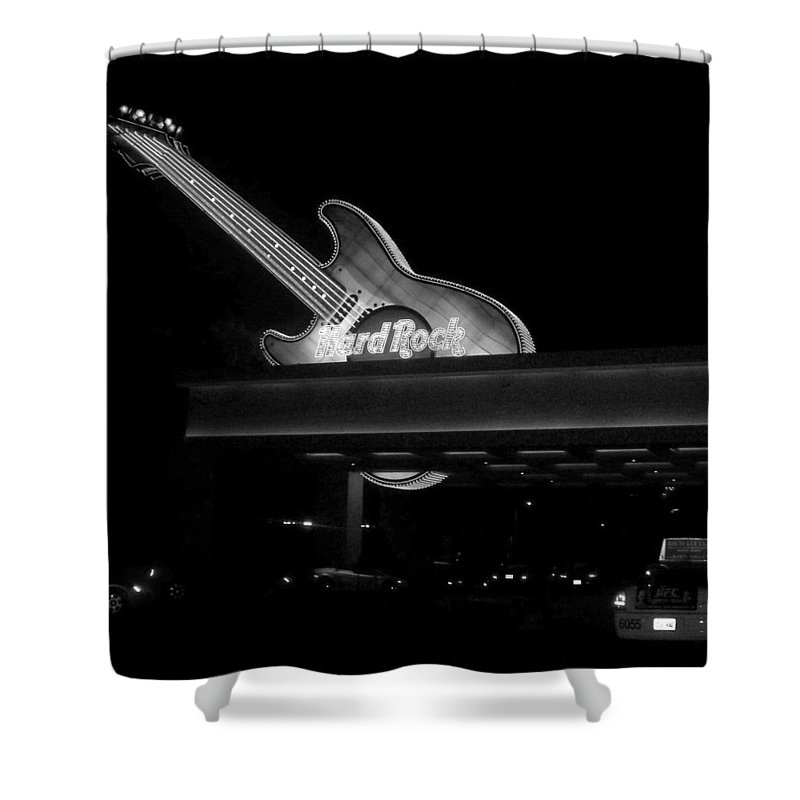 Vegas Shower Curtain featuring the photograph Hard Rock Cafe Sign 2 B-w by Anita Burgermeister