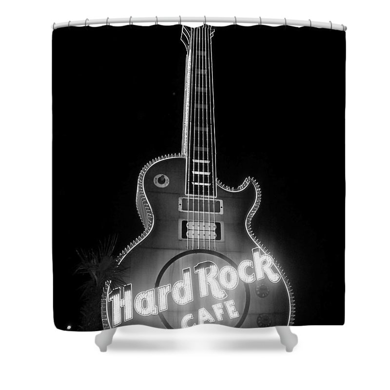 Vegas Shower Curtain featuring the photograph Hard Rock Cafe Sign B-w by Anita Burgermeister