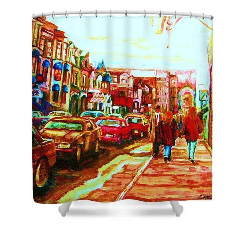 Montreal Streetscenes Shower Curtain featuring the painting Hard Rock On Crescent by Carole Spandau