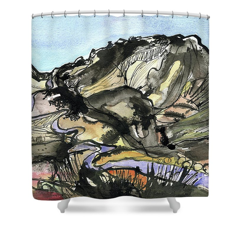 Hardknott Summit Road - English Lake District - Watercolour Painting - Mountain Scenery - Landscape Painting -elizabethafox Shower Curtain featuring the painting Hardknott Summit Road by Elizabetha Fox