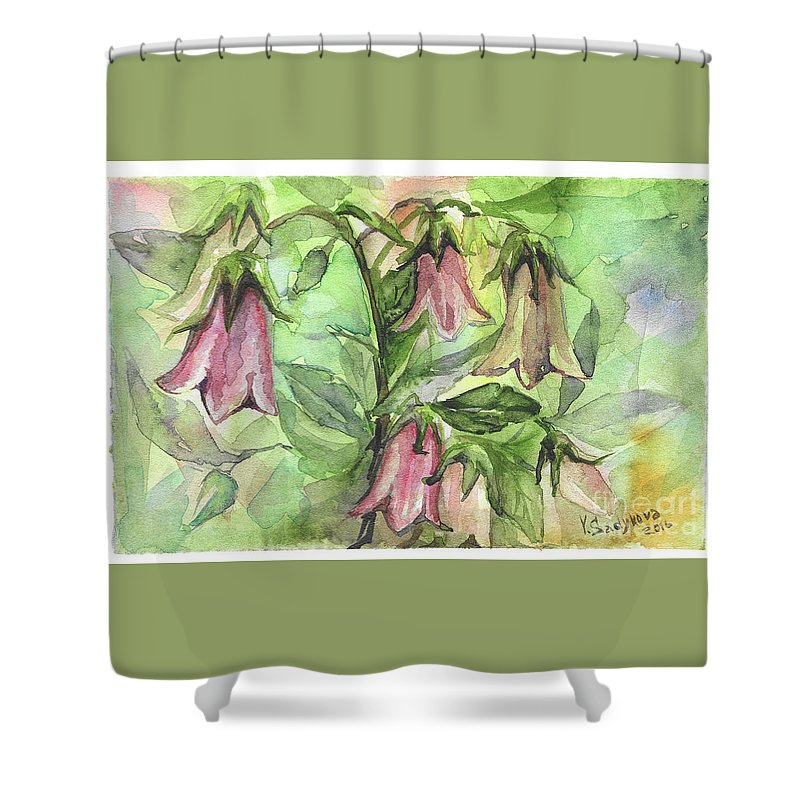 Harebell Shower Curtain featuring the painting Harebell by Yana Sadykova