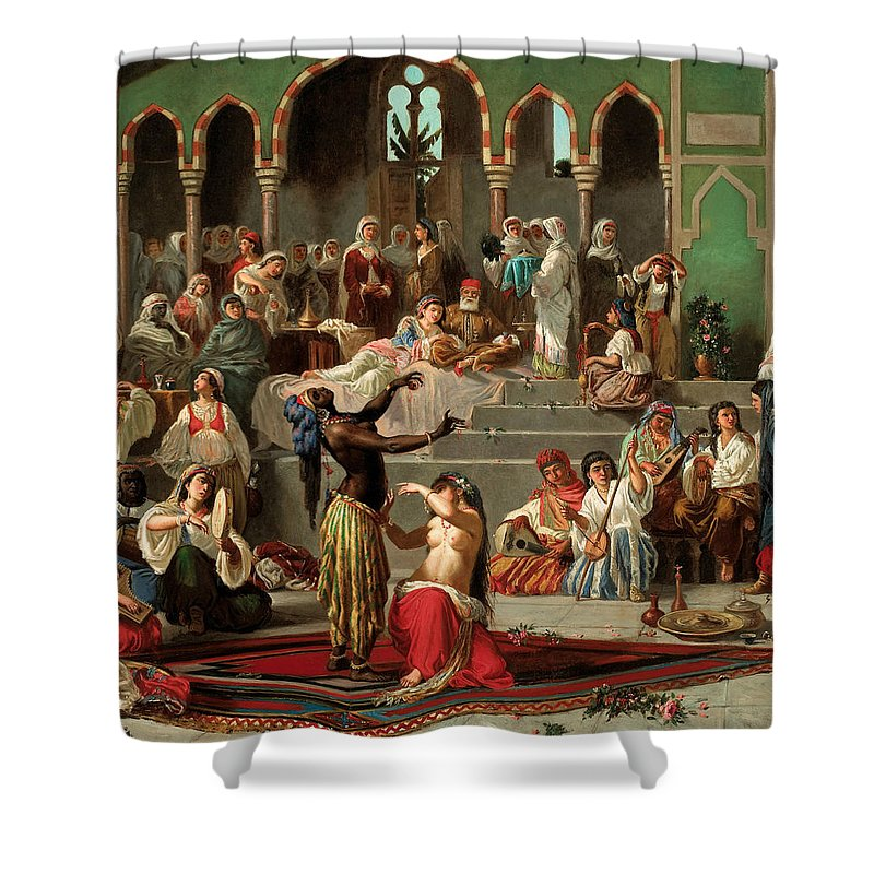 Georges-francois Guiaud Shower Curtain featuring the painting Harem Dancers by Georges-Francois Guiaud