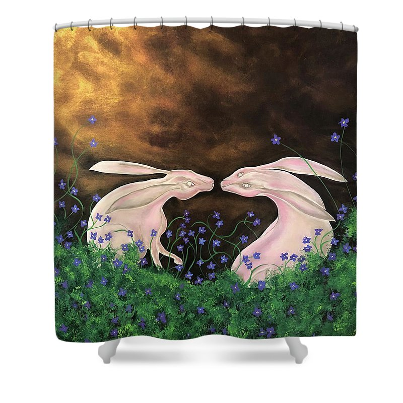 Rabbits Shower Curtain featuring the painting Hares At Dawn by Ron Tango Jr