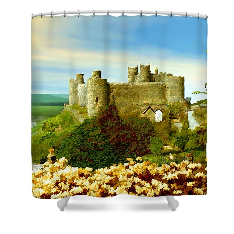 Castles Shower Curtain featuring the photograph Harlech Castle by Kurt Van Wagner