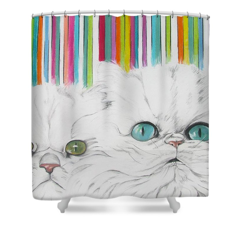 Cat Painting Shower Curtain featuring the pastel Harley And Chloe by Michelle Hayden-Marsan