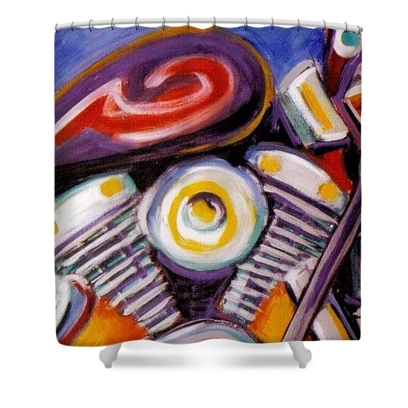 Abstract Shower Curtain featuring the painting Harley Closeup by Anita Burgermeister