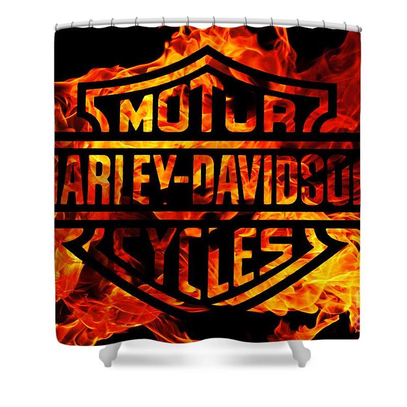 Harley Davidson Logo Flames Shower Curtain Featuring The Digital Art Harley  Davidson Logo Flames By Randy