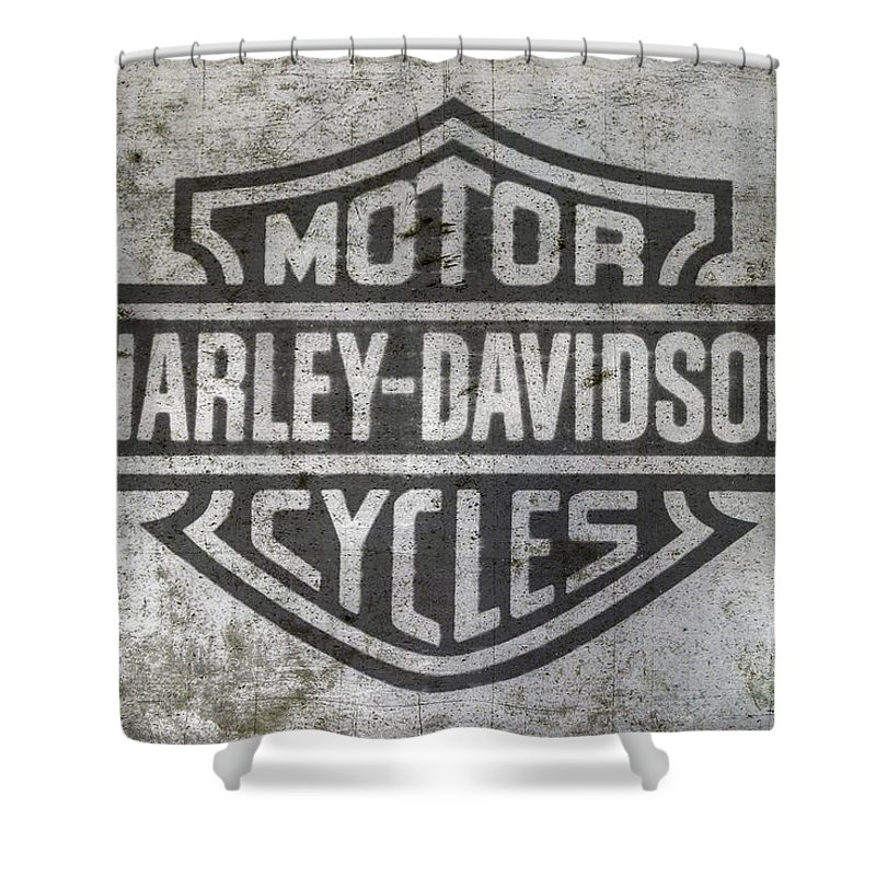 Harley Davidson Logo On Metal Shower Curtain For Sale By Randy Steele