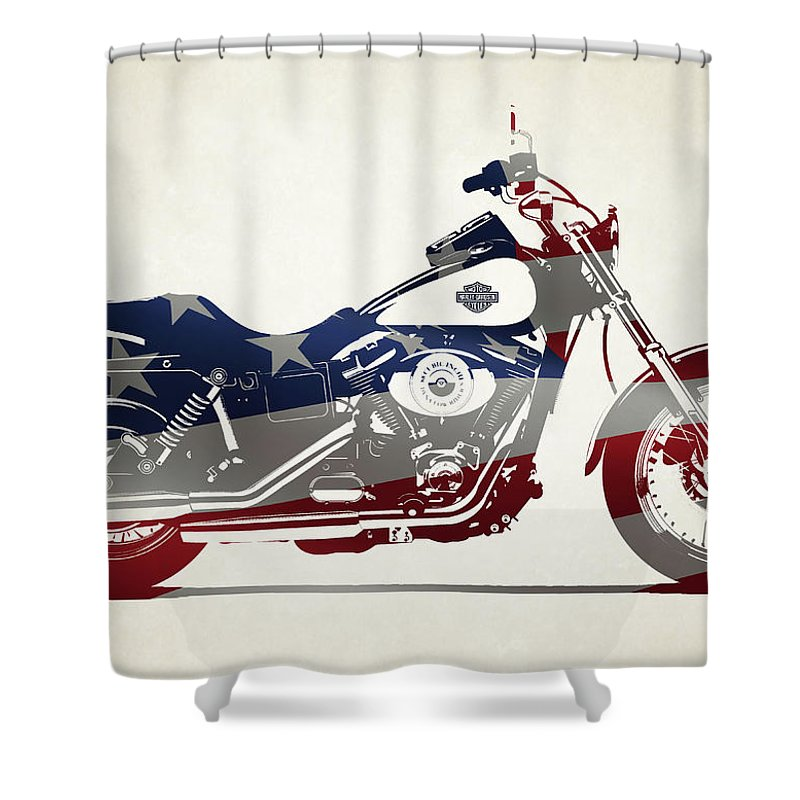Harley Motorcycles Shower Curtain Featuring The Photograph Davidson Made In Usa By Stephanie Hamilton