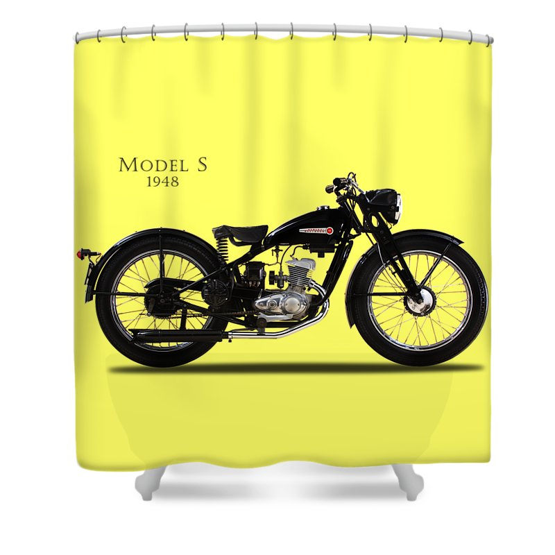 Harley Davidson Shower Curtain Featuring The Photograph Model S By Mark Rogan