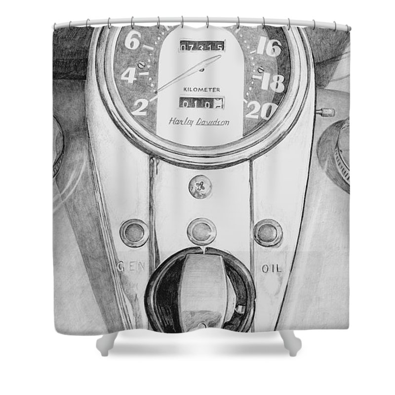 Motor Cycle Shower Curtain featuring the drawing Harley Davidson by Rob De Vries