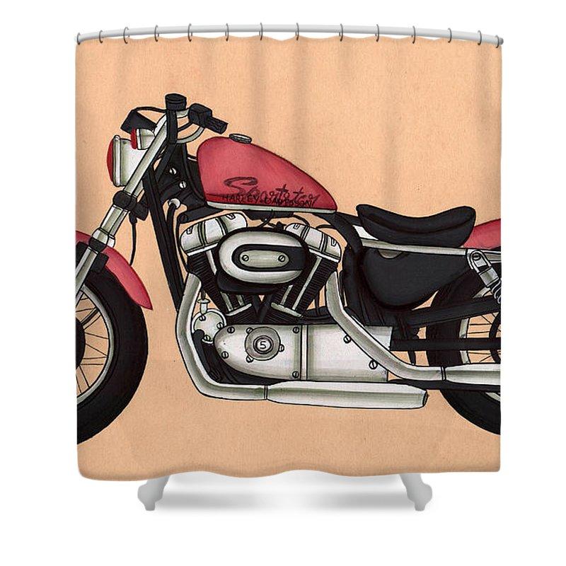 Harley Davidson Sportster 883 Antique Vintage Shower Curtain For