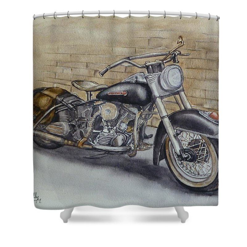 Harley Davidson Vintage 1950s Shower Curtain For Sale By Kelly Mills
