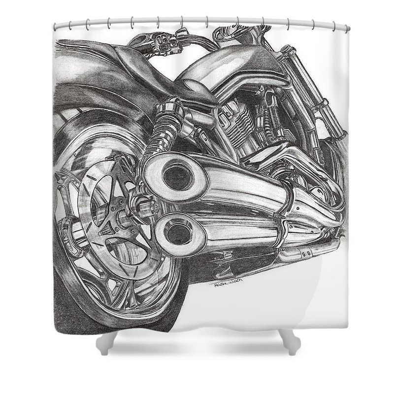 Harley Davidson Shower Curtain featuring the drawing Harley by Kristen Wesch