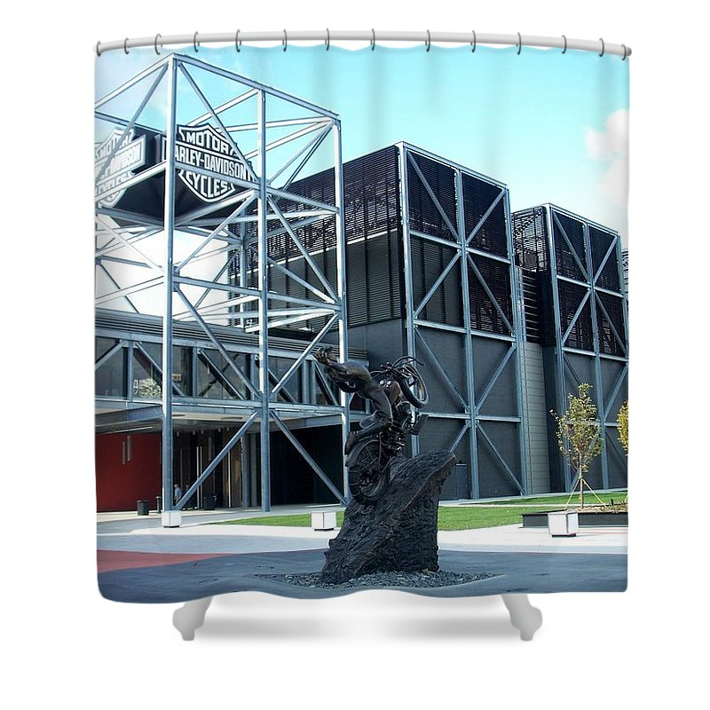 Architechture Shower Curtain featuring the photograph Harley Museum And Statue by Anita Burgermeister