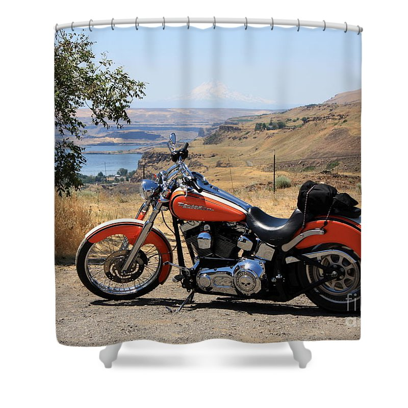 Washington State Shower Curtain featuring the photograph Harley With Columbia River And Mt Hood by Carol Groenen