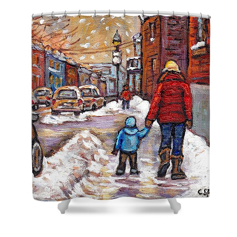 Canadian Artist Celebrates Montreal 375 Shower Curtain featuring the painting Original Montreal Street Scene Paintings For Sale Winter Walk After The Snowfall Best Canadian Art by Carole Spandau