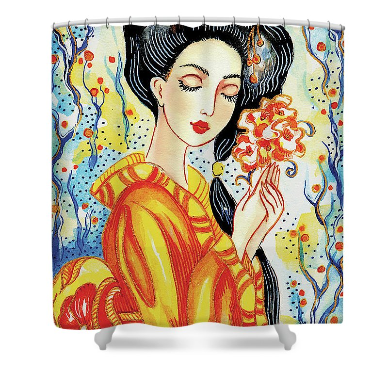 Woman And Flower Shower Curtain featuring the painting Harmony Flower by Eva Campbell