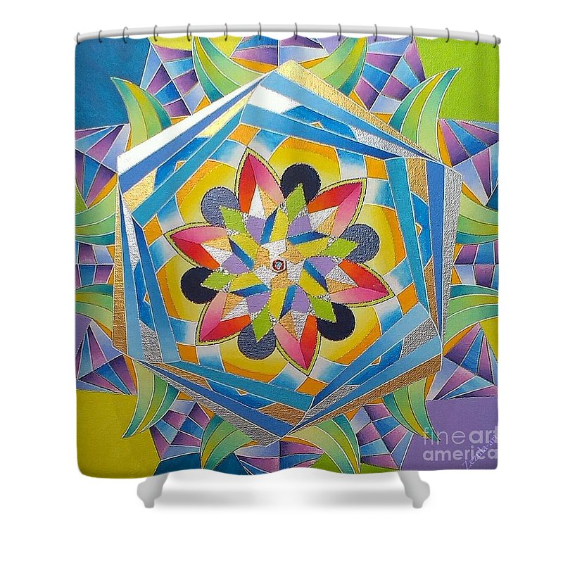 Harm�nia Shower Curtain featuring the painting Harmony by Martin Zezula
