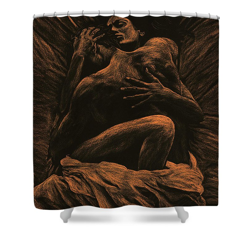Nude Shower Curtain featuring the pastel Harmony by Richard Young