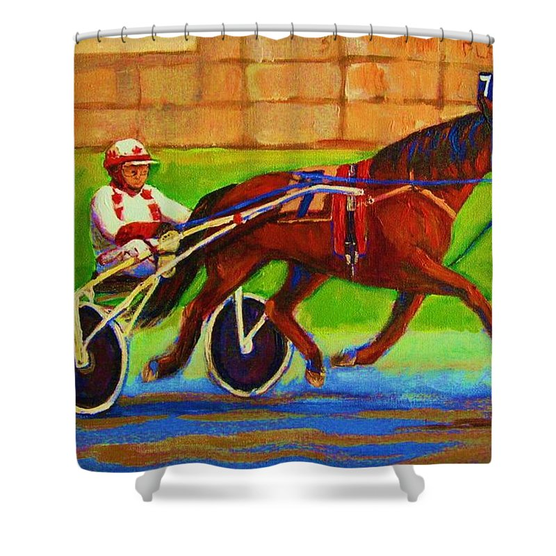 Harness Racing Shower Curtain featuring the painting Harness Racing At Bluebonnets by Carole Spandau