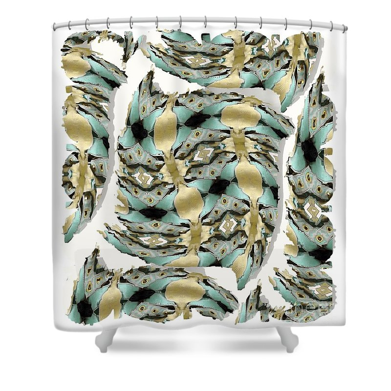 Abstract Shower Curtain featuring the digital art Harnesses Plus by Ron Bissett