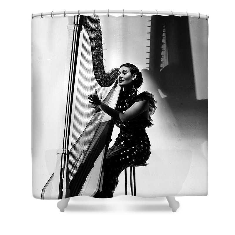 1935 Shower Curtain featuring the photograph Harpist, 1935 by Granger