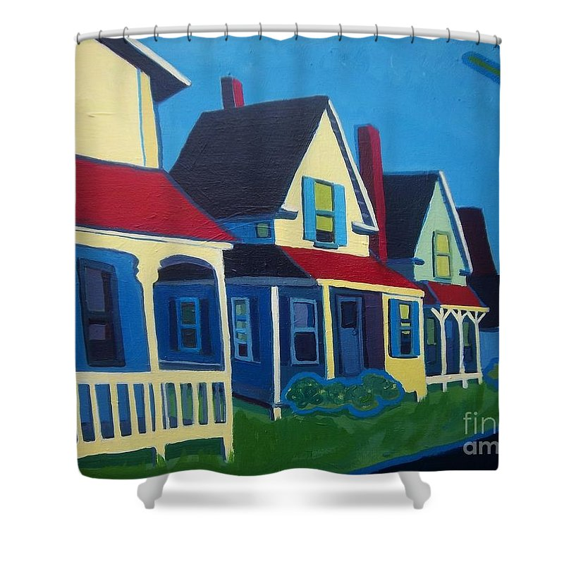 Maine Shower Curtain featuring the painting Harpswell Cottages by Debra Bretton Robinson
