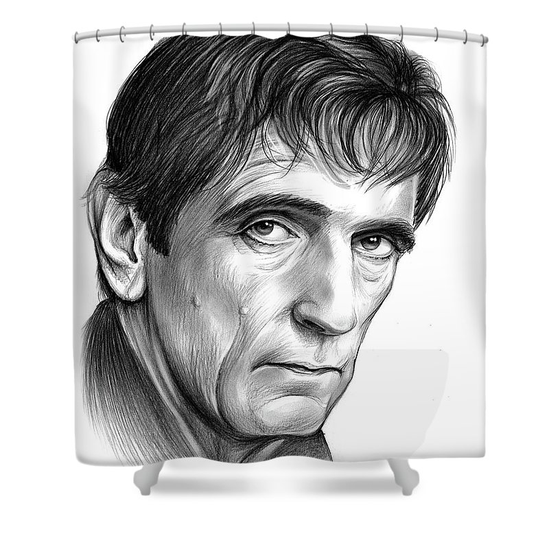 Harry Dean Stanton Shower Curtain featuring the drawing Harry Dean Stanton by Greg Joens
