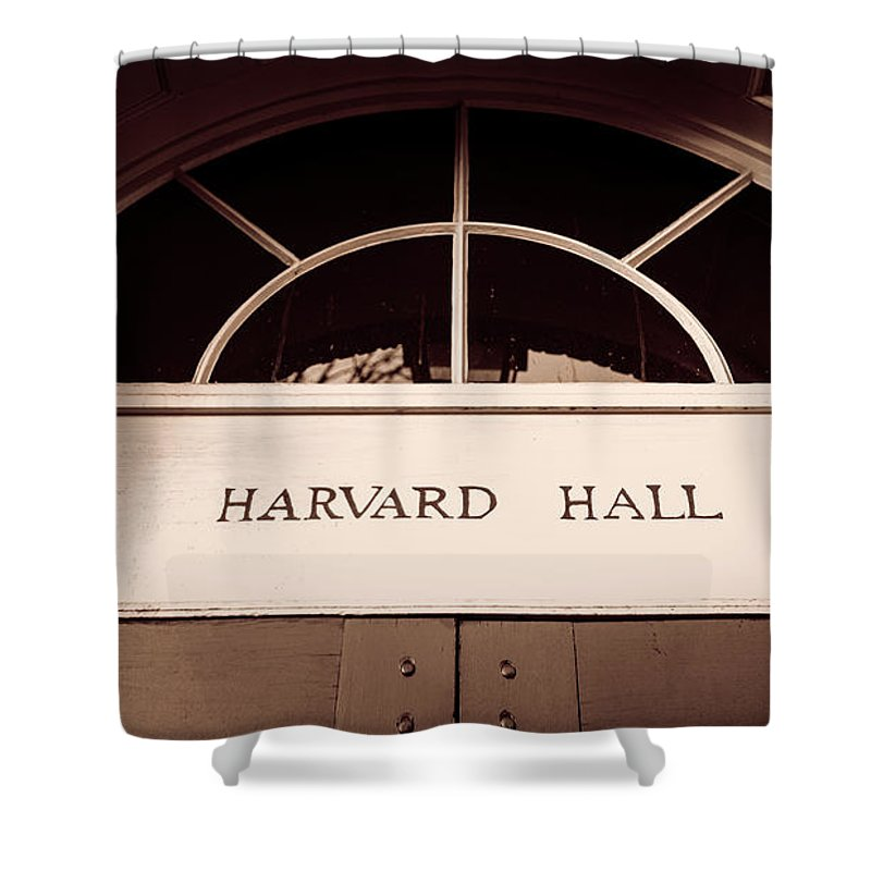 Harvard Shower Curtain featuring the photograph Harvard Hall #2 by Stephen Stookey