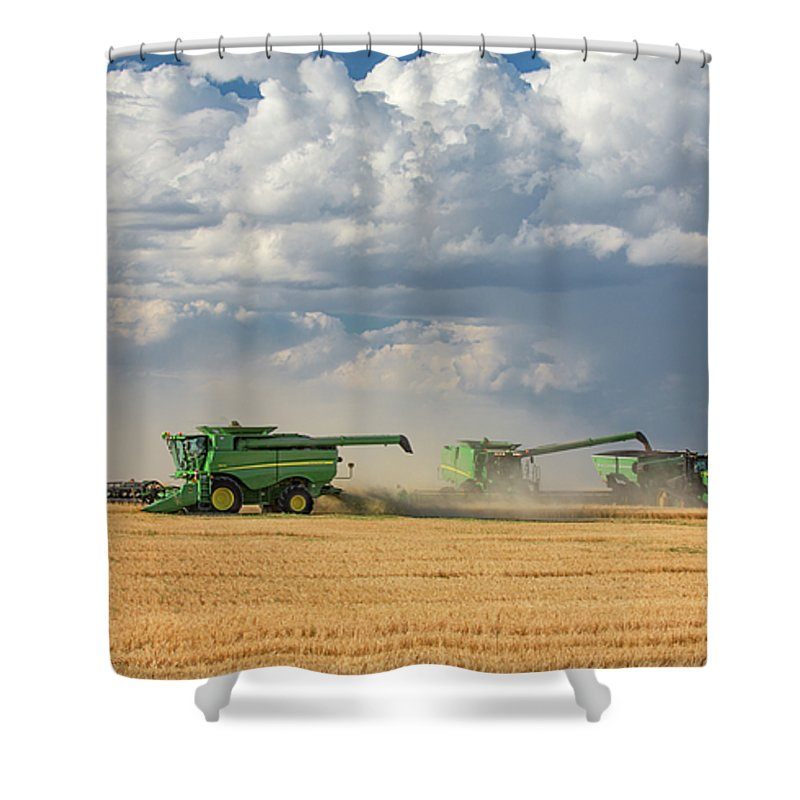 John Deere Shower Curtain featuring the photograph Harvest Clouds by Todd Klassy