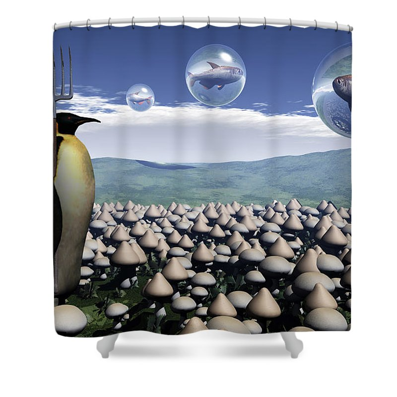 Surreal Shower Curtain featuring the digital art Harvest Day Sightings by Richard Rizzo
