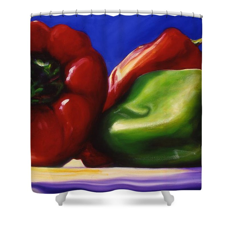 Still Life Shower Curtain featuring the painting Harvest Festival Peppers by Shannon Grissom
