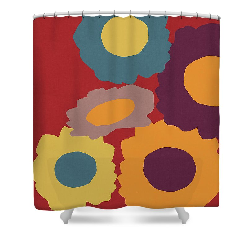 Sunflowers Shower Curtain featuring the mixed media Harvest Flowers Red- Art By Linda Woods by Linda Woods