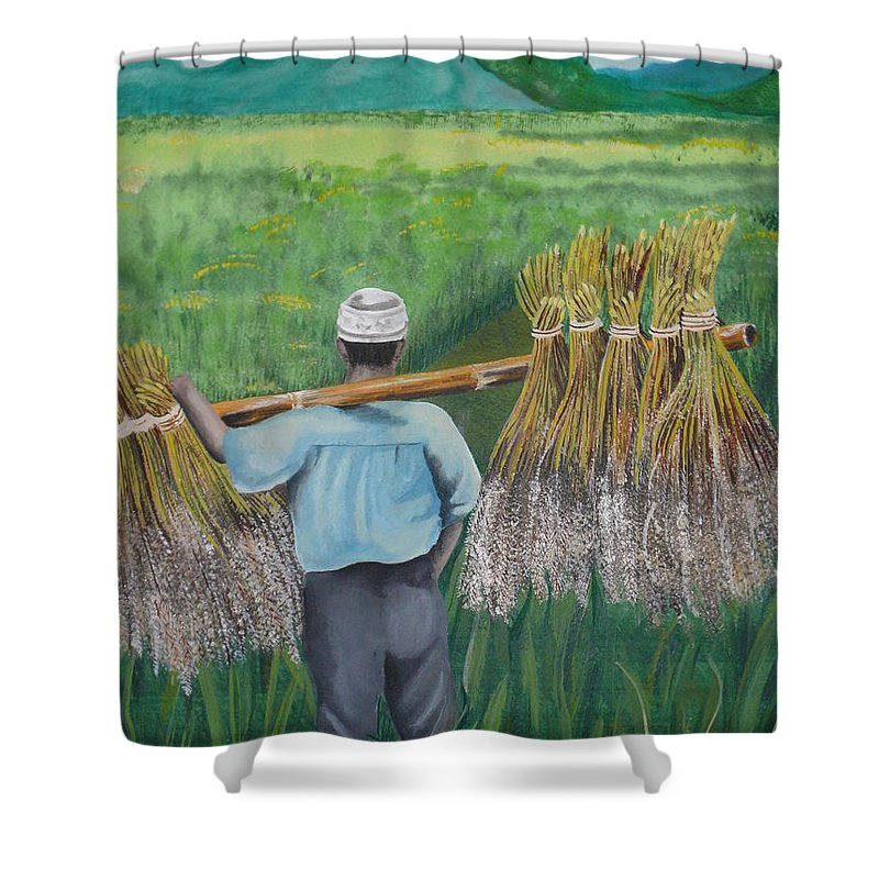 Landscape Shower Curtain featuring the painting Harvest by Kris Crollard